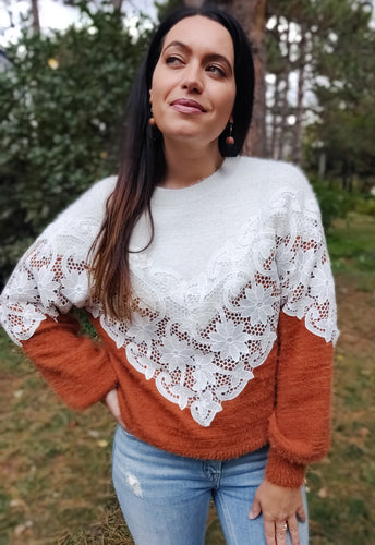 Two Tone Lace Sweater