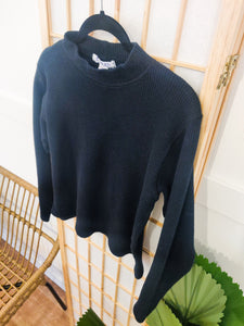 Onyx Waffle Knit 90's Mock Neck - Wanderer Traveling Boutique