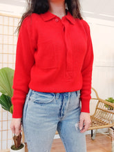 Load image into Gallery viewer, Cardinal Red 80's Sweater - Wanderer Traveling Boutique