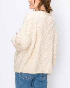 Hearts Galore Pom Cardigan in Cream - Wanderer Traveling Boutique