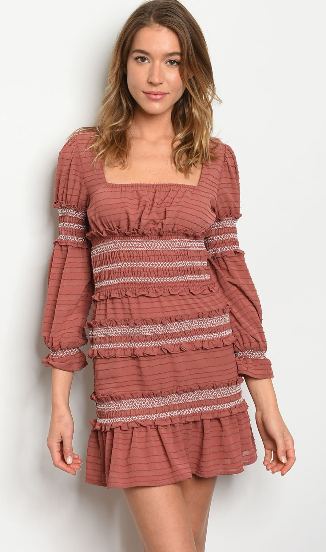 Deep Mauve Ruffle Dress - Wanderer Traveling Boutique