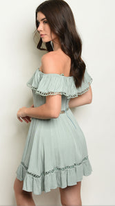 Delicate Sage Off Shoulder Dress - Wanderer Traveling Boutique