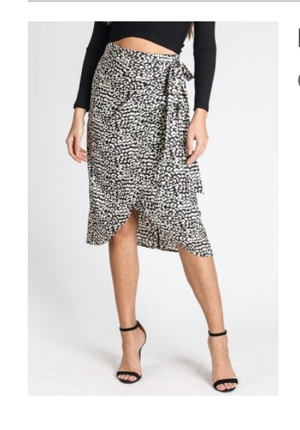 Silky Leopard Wrap Skirt - Wanderer Traveling Boutique