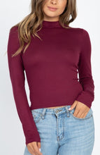 Load image into Gallery viewer, Burgundy Long Sleeve Mock Neck Top - Wanderer Traveling Boutique