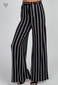 Black & White Striped Pant - Wanderer Traveling Boutique