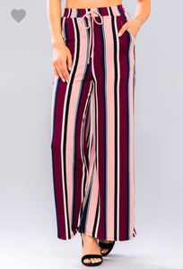 Mauve Pocketed Striped Pant - Wanderer Traveling Boutique