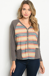 Easy-Fit Gray Cardigan with Pockets - Wanderer Traveling Boutique