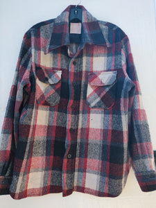 Vintage Men's Wool Plaid Jacket, item shown without model.