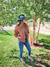 Load image into Gallery viewer, Cognac Genuine Leather Bomber Jacket - Vintage - Wanderer Traveling Boutique
