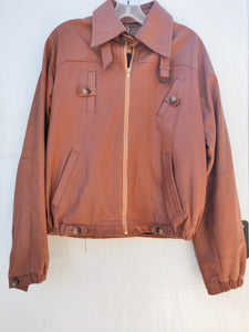 Cognac Genuine Leather Bomber Jacket - Vintage - Wanderer Traveling Boutique