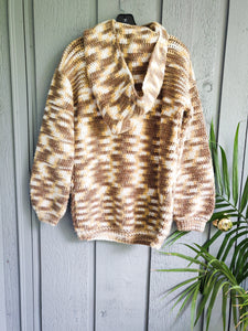 Hand Knit Hoodie Sweater - Vintage - Wanderer Traveling Boutique