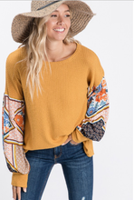 Load image into Gallery viewer, Effortless Mustard Boho Print Top - Wanderer Traveling Boutique