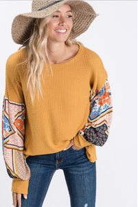 Effortless Mustard Boho Print Top - Wanderer Traveling Boutique