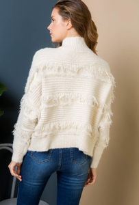 Luxurious Ivory Fringed Turtleneck - Wanderer Traveling Boutique