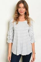 Load image into Gallery viewer, Elegant Gray Striped Top - Wanderer Traveling Boutique