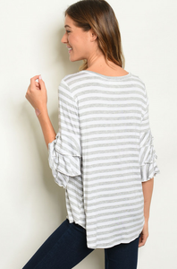 Elegant Gray Striped Top - Wanderer Traveling Boutique