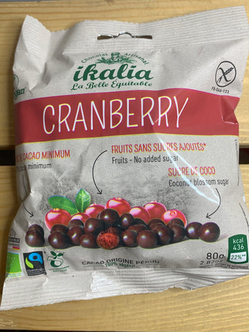 Fruits enrobés de chocolat noir 75% -  cranberries (80gr)