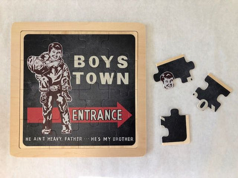 Boys Town Vintage Sign Wooden Jigsaw Puzzle
