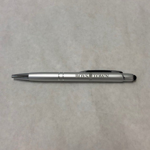 Silver Click Pen with Stylus