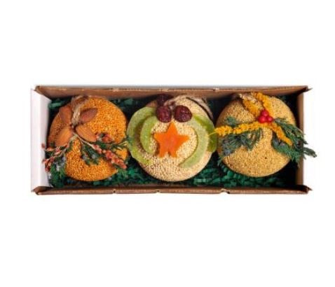 Fruit and Seed Ornament Ball Trio
