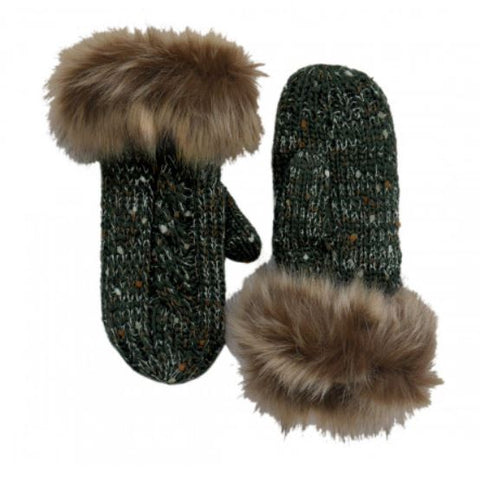 Green Speckled Wool Fur Mittens
