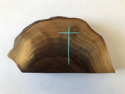 NebraskaWood Walnut Slab with Turquoise Cross Inlay