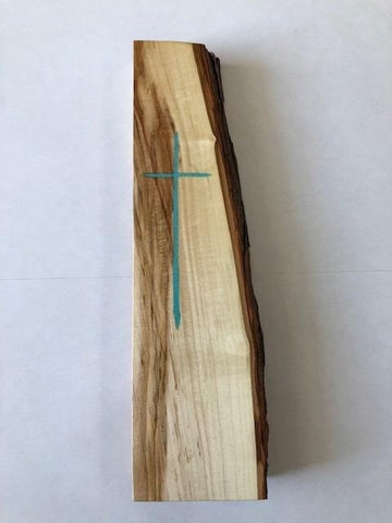 NebraskaWood Maple Slab with Turquoise Cross Inlay