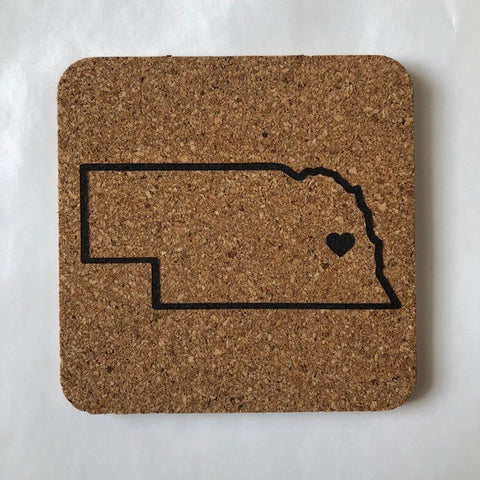 Nebraska Cork Coaster