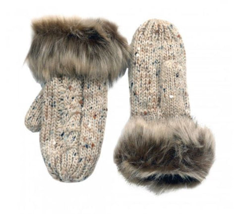 Oatmeal Wool Fur Mittens