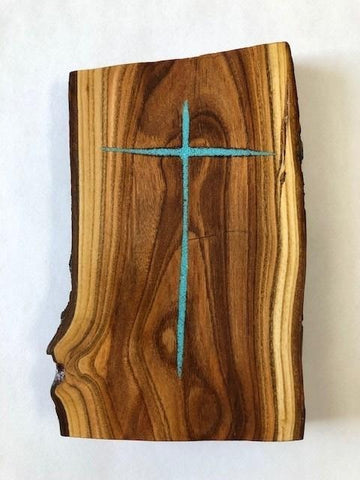 NebraskaWood Peach Slab with Turquoise Cross Inlay