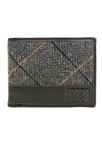 Black/Grey Tweed Celtic Leather Wallet