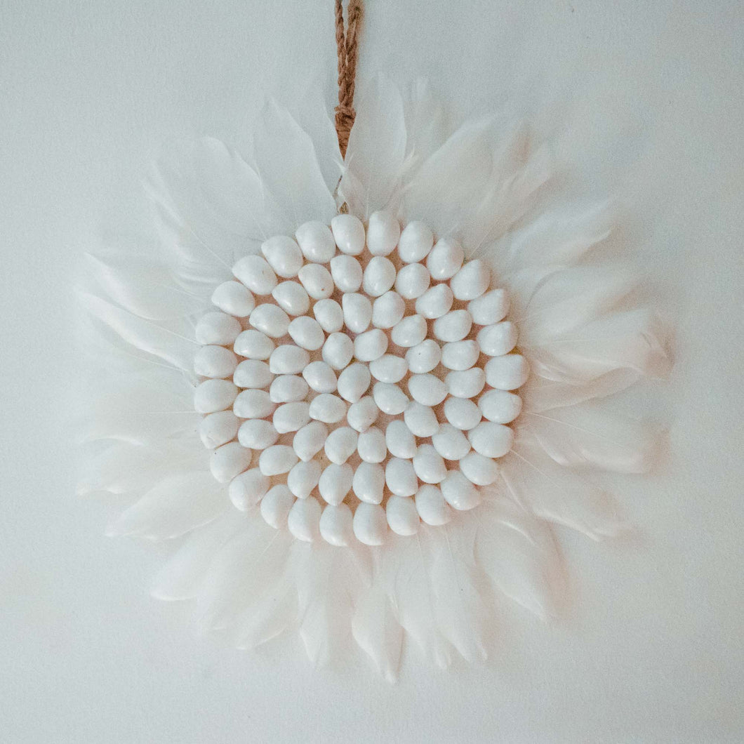 Juju hat Bali Plumes et Coquillages Blanc