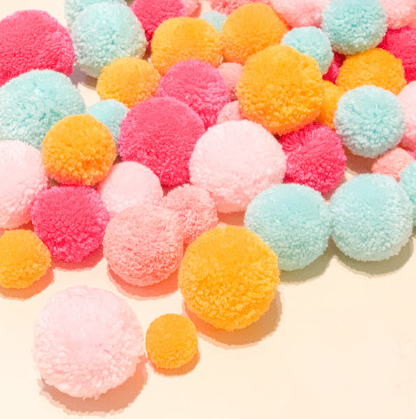 Pom poms in various colors
