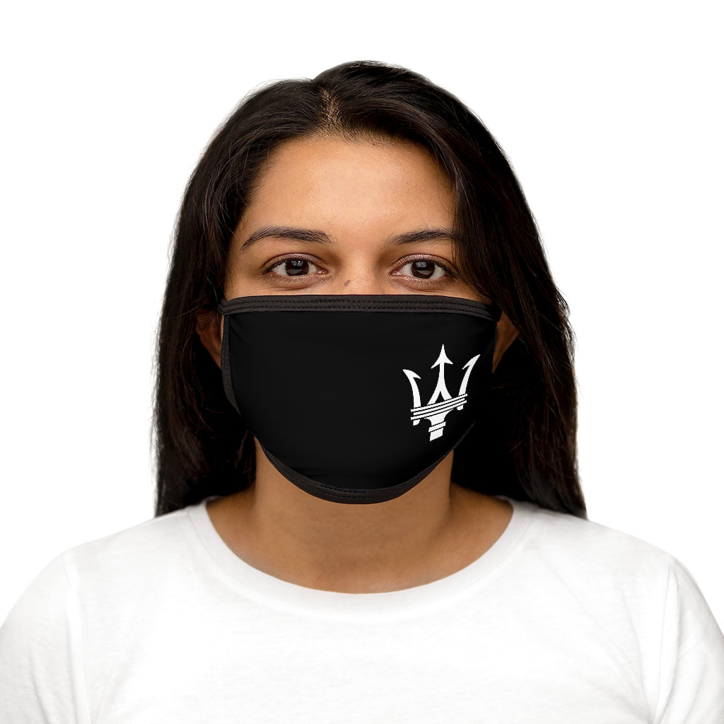 Maserati Large White Trident Mixed-Fabric Face Mask