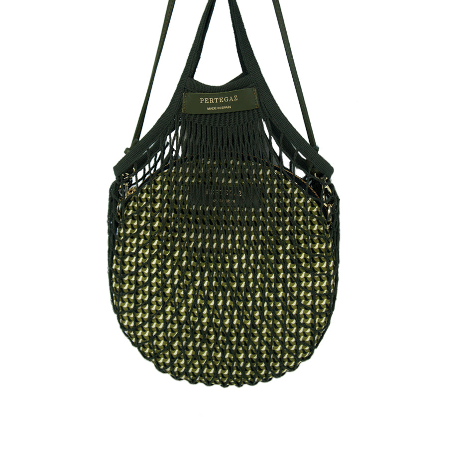 Round Shoulder Bag with Cotton Net Bag