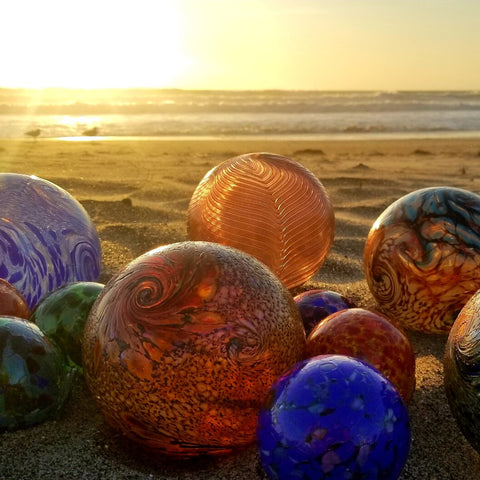 Oregon Beach Glass Floats in Sunset