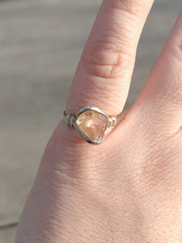 Raw Oregon Sunstone Crystal Ring in Sterling Silver Sz 7.25
