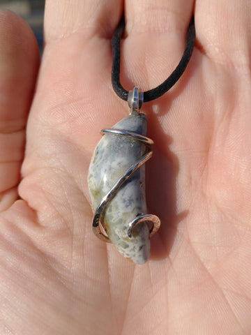 Rare Oregon Moonrise Plume Jasper Pendant in Sterling Silver