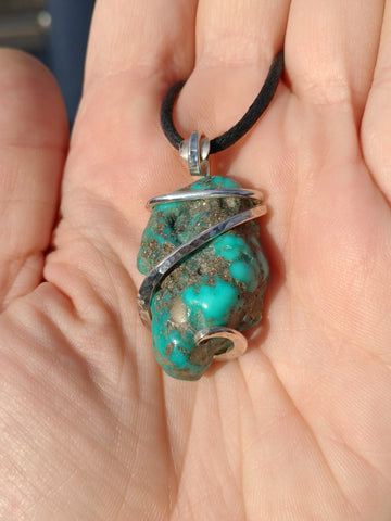 Raw Turquoise Nugget Pendant Sterling Silver from the Morenci Mine