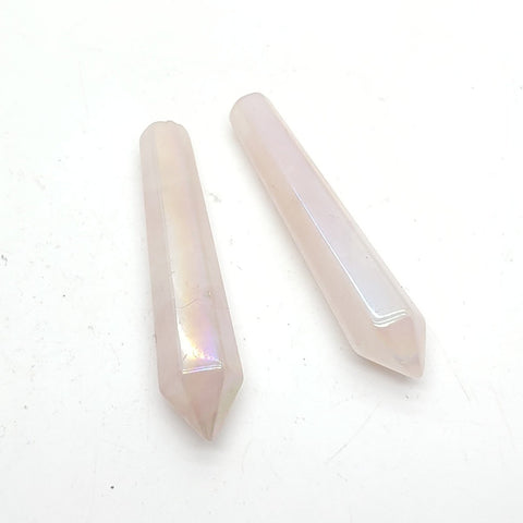 Large Aura Rose Quartz Polished Stone Crystal Pencil Point