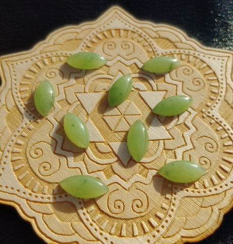 Light Apple Green Nephrite Jade Marquis Cabochon 15x7mm AA Grade