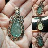 Carved Blue Aquamarine Flower Wire Wrapped Pendant in Sterling Silver & 14kt Rose Gold Filled