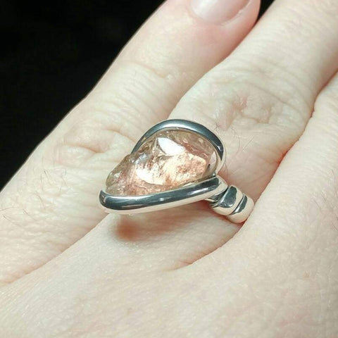 Raw Pink Oregon Sunstone Crystal Ring in Sterling Silver Sz 9 with Copper Schiller