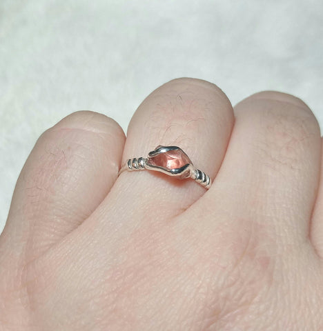 Peachy Red Oregon Sunstone Crystal Ring in Sterling Silver Sz 10