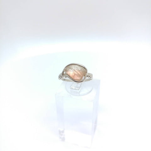 Raw Oregon Sunstone Crystal Ring in Sterling Silver Sz 5