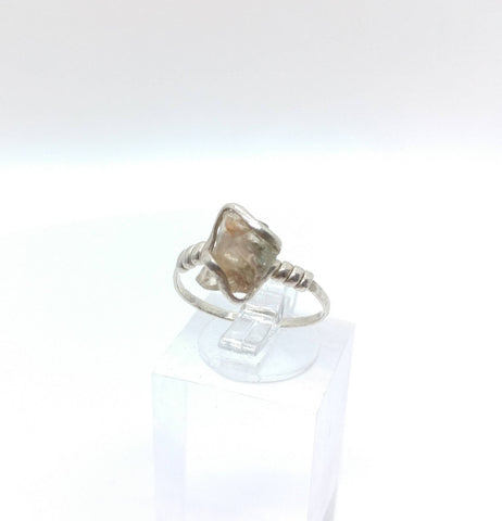 Raw Green Oregon Sunstone Crystal Ring in Sterling Silver Sz 6.75