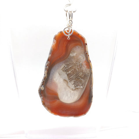 Berber Agate with Mineral Pseudomorph Pendant in Sterling Silver