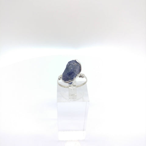 Raw Iolite Crystal Ring in Sterling Silver Sz 7