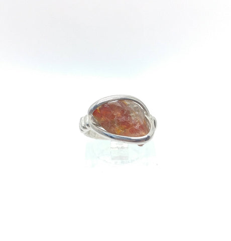 Red Oregon Sunstone Rough Crystal Ring Sterling Silver Sz 5