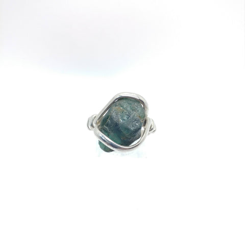Mens Rough Blue Tourmaline Ring in Sterling Silver Sz 9.5